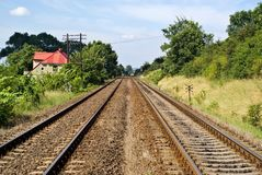 Rail tracks in country Stock Photos