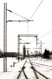 Rail tracks in freight yard winter Royalty Free Stock Photography