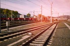 Rail tracks in Graz, Austria.  Royalty Free Stock Photos