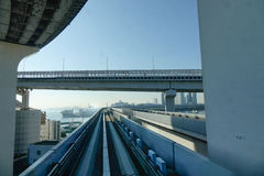 Rail tracks with highway in Tokyo, Japan Royalty Free Stock Photos