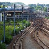 Rail tracks in Liège, Belgium Royalty Free Stock Photo