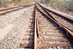 Rail tracks. Line of railway crossing background royalty free stock photo