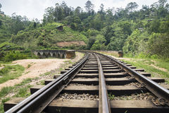 Rail tracks on the nine arch bridge in Ella, Sri Lanka royalty free stock image