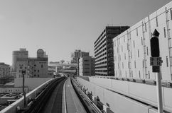 Rail tracks at Odaiba district in Tokyo, Japan Royalty Free Stock Images