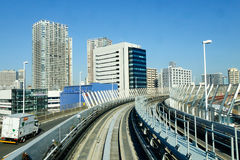 Rail tracks of the Odaiba train lines in Tokyo, Japan.  Royalty Free Stock Photography