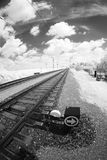 Rail tracks and points. Electrified railway tracks with points closeup, captured through fisheye lens with infrared filter Stock Photo