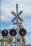 Rail tracks at San Diego Convention Center - CALIFORNIA, USA - MARCH 18, 2019. Rail tracks at San Diego Convention Center - CALIFORNIA, UNITED STATES - MARCH 18 stock image