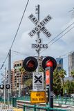 Rail tracks at San Diego Convention Center - CALIFORNIA, USA - MARCH 18, 2019. Rail tracks at San Diego Convention Center - CALIFORNIA, UNITED STATES - MARCH 18 stock images
