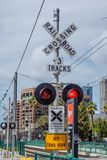 Rail tracks at San Diego Convention Center - CALIFORNIA, USA - MARCH 18, 2019. Rail tracks at San Diego Convention Center - CALIFORNIA, UNITED STATES - MARCH 18 royalty free stock photography