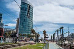 Rail tracks at San Diego Convention Center - CALIFORNIA, USA - MARCH 18, 2019. Rail tracks at San Diego Convention Center - CALIFORNIA, UNITED STATES - MARCH 18 royalty free stock photos