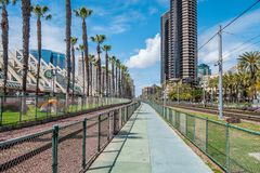 Rail tracks at San Diego Convention Center - CALIFORNIA, USA - MARCH 18, 2019. Rail tracks at San Diego Convention Center - CALIFORNIA, UNITED STATES - MARCH 18 royalty free stock image