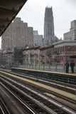 Rail tracks and station platform New York USA Royalty Free Stock Image