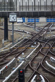 Rail tracks and switches at Froettmaning in Munich, 2015 Stock Photos