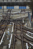 Rail tracks and switches at Froettmaning in Munich, 2015 Stock Images