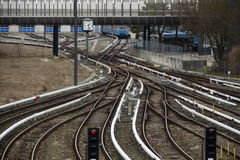 Rail tracks and switches at Froettmaning in Munich, 2015. Rail tracks in Froettmaning Munich with several switches stock image