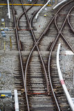 Rail tracks and switches at Froettmaning in Munich, 2015 Royalty Free Stock Images