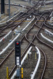 Rail tracks and switches at Froettmaning in Munich, 2015 Royalty Free Stock Photo