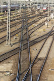 Rail tracks and switches at Hackerbruecke in Munich, 2015 Stock Photography