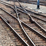 Rail tracks and switches. Railroad tracks and switches at a railroad station stock photo