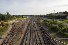 Rail tracks to the train station of Werdau, Germany, 2015 Royalty Free Stock Image