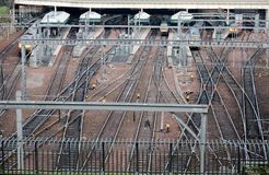 Rail trail in communication node at Edinburg main train station. Aerial front view. Horizontal crop Royalty Free Stock Images