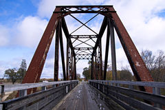 Rail Trail Trestle. Train trestle converted to a walking path  Pere Marquette State Rail Trail  Evart, Michigan Royalty Free Stock Images