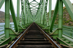 Rail train. On a bridge royalty free stock photography