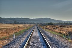 Train rail. Rail train in hdr photo in Israel Stock Photo