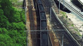 Rail: a train loaded with coal goes on rails