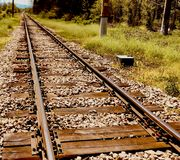 Rail train road perspective way hope concept ahead travel. Direction positive Stock Photos