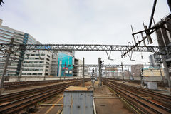 Rail train stop at Sapporo station in Hokkaido, Japan. Stock Images