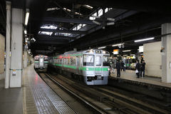 Rail train stop at Sapporo station in Hokkaido, Japan. Royalty Free Stock Photography