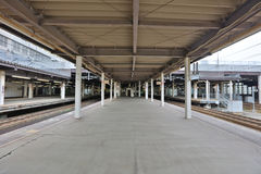 Rail train stop at Sapporo station in Hokkaido, Japan. Royalty Free Stock Images