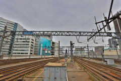 Rail train stop at Sapporo station in Hokkaido, Japan. Royalty Free Stock Photos