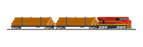 Rail trains cars of wood at the railway station Royalty Free Stock Image