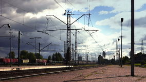 Rail transport. Freight train. Freight transport. The sky with storm clouds stock video footage