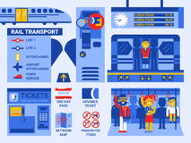 Rail Transport. Illustration of rail transportation infographic elements and icons Royalty Free Stock Photos