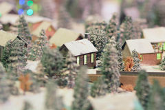 A Rail transport modelling on snow day Royalty Free Stock Photo