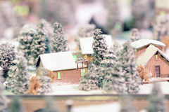 A Rail transport modelling on snow day Royalty Free Stock Photos