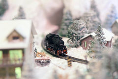 A Rail transport modelling on snow day Stock Images