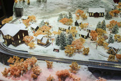 A Rail transport modelling on snow day Royalty Free Stock Image