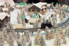 A Rail transport modelling on snow day Stock Photos