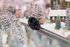 A Rail transport modelling on snow day Royalty Free Stock Photography