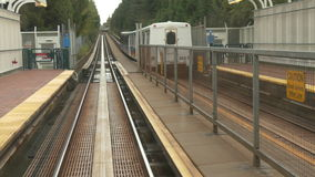 Rail truck train moving. Vehicle shot skytrain Vancouver 08 Octpber 2016 stock footage