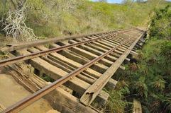 Rail Truss Bridge at Koko Crater. Vintage Military Post Rail Truss Bridge  on Trail towards Summit of Koko Crater, Hawaii Stock Images