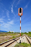 Rail way with blue sky. Steel road of Train in Map ta phut , Thailand Stock Photography