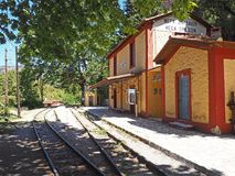 Train Station along the Diakopto Kalavryta Rail Way in Greece. Rail way station in Megalo Spilaio along the scenic Diakopto to Kalavryta cog train line on the royalty free stock images
