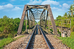 Rail way and steel bridge on daylight Royalty Free Stock Photos