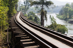 Rail way waterfront. Kanchanaburi rail way waterfront Thailand Stock Photo
