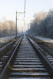 Rail-way in wintertime Stock Photo